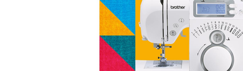 Gros plan d'une machine à coudre sur fond multicolore à motifs