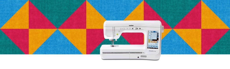 Quiltmaschine auf mehrfarbig gemustertem Hintergrund
