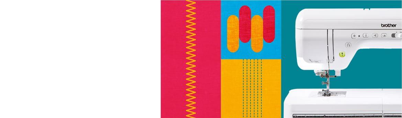 Macchina per cucire in primo piano su sfondo con motivo multicolore