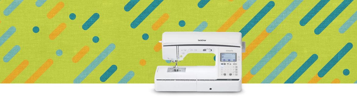 Sewing machine on lime green background with blue and orange stripes