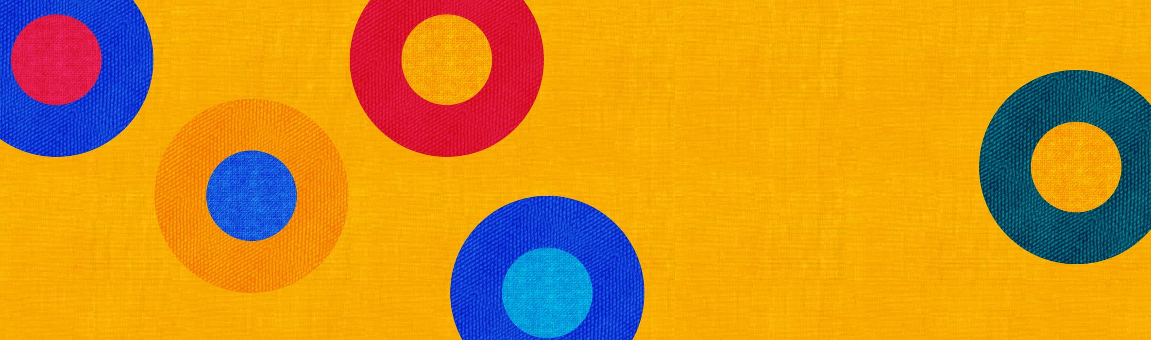 multicoloured circle on an orange background