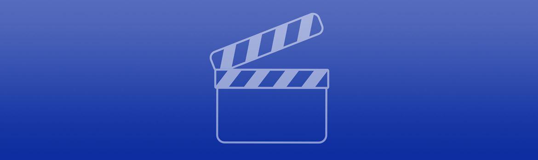 Blaues Banner mit Videosymbol
