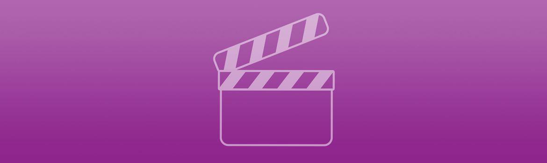 Paarse banner met videosymbool