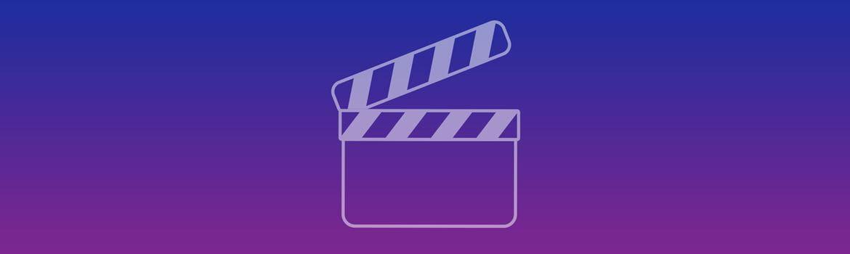 Bannière bleue et violette avec icône vidéo
