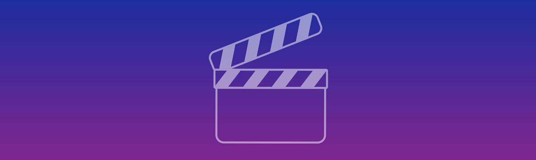 Striscione blu e viola con icona del video