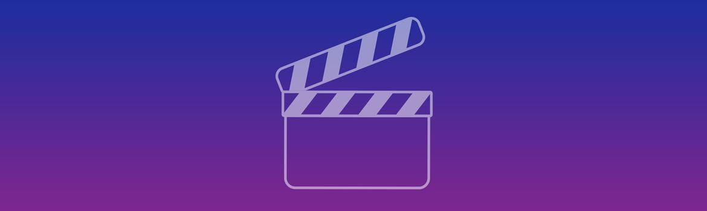 Blauw-paarse banner met videosymbool