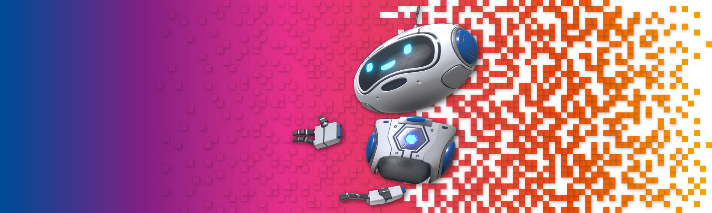 Colourful background with little robot avatar