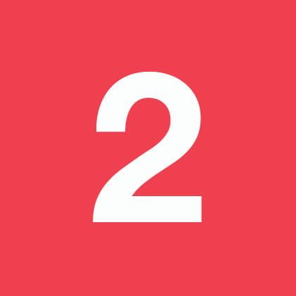 Zahl 2 auf rotem Hintergrund