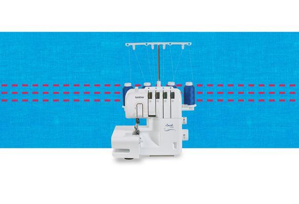 2104D overlocker machine on a blue pattern background