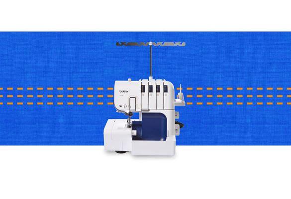 4234D overlocker machine on a dark blue pattern background