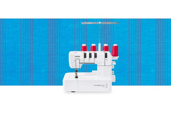 CV3440 coverstitch machine on a blue pattern background