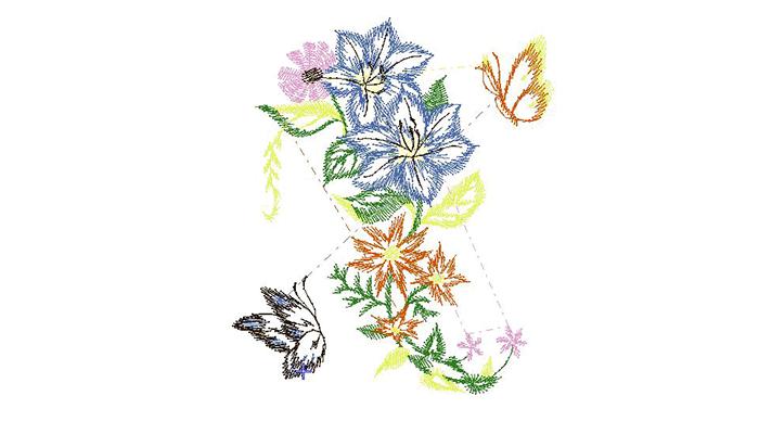 motif de broderie bouquet de fleurs