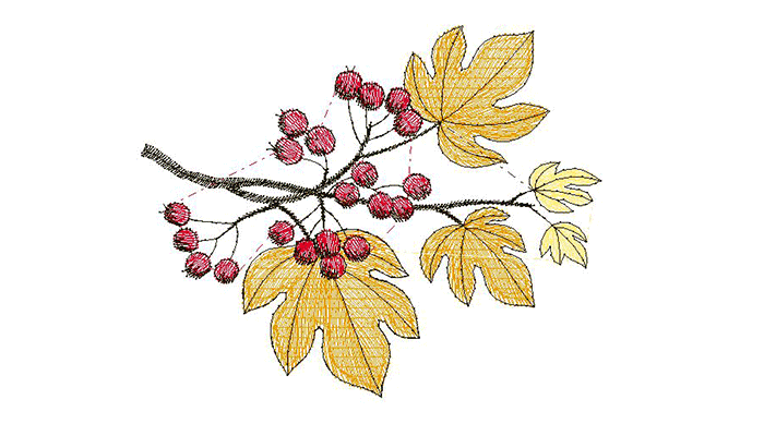 motif de broderie feuilles d'automne