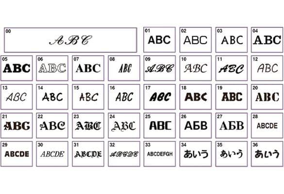 37 diversi stili di caratteri