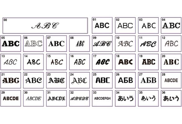 37 different styles of fonts