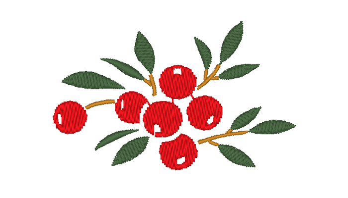 Berry on leaves embroidery design