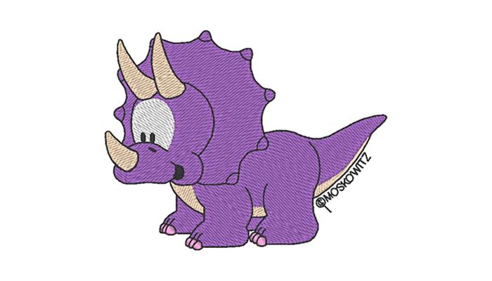 Purple dinosaur embroidery design