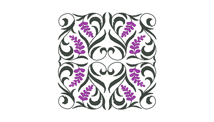 Green and purple curly leaves design