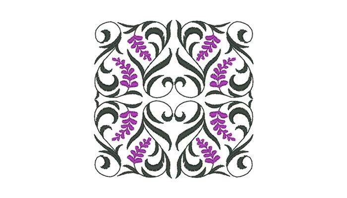 Motif de broderie frisée verte et violette