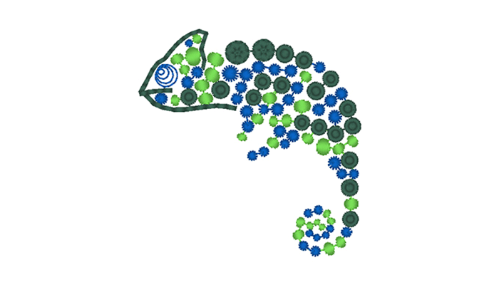 Blue and green chameleon embroidery design