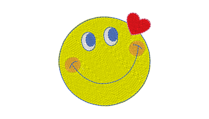 Yellow smiley with red heart embroidery design