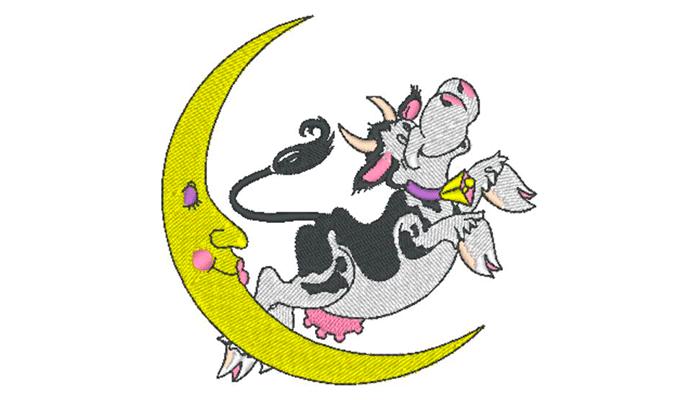Mucca bianca e nera che salta sopra il modello di ricamo luna gialla