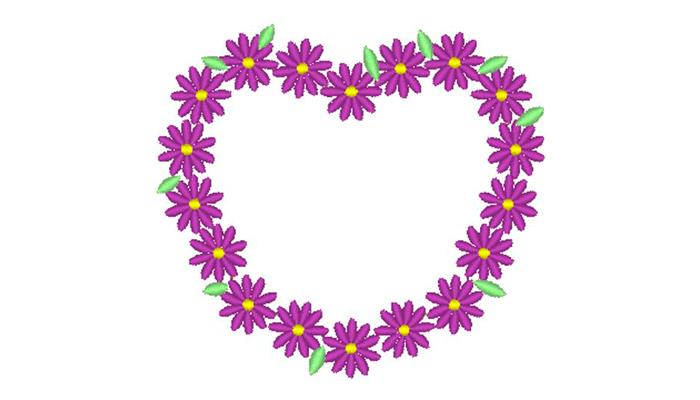 Stickmuster von lila Gänseblümchen in Herzform