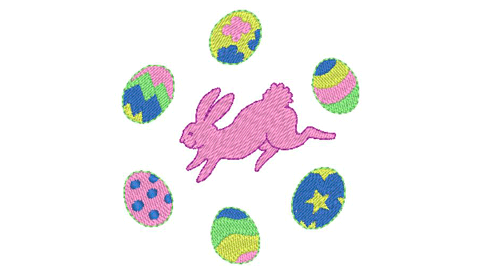 Rosa Kaninchen umgeben von bunten Ostereiern Stickmuster