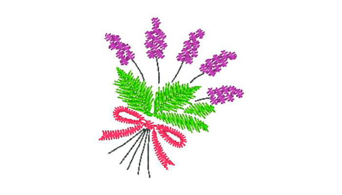 Lavendelstrauß mit rosa Geschenkband Stickmuster