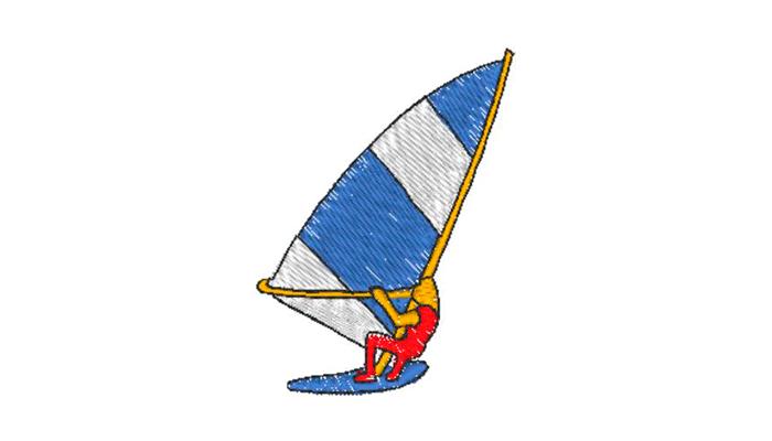 Blauwe en witte windsurf met windsurfer in rood borduurpatroon