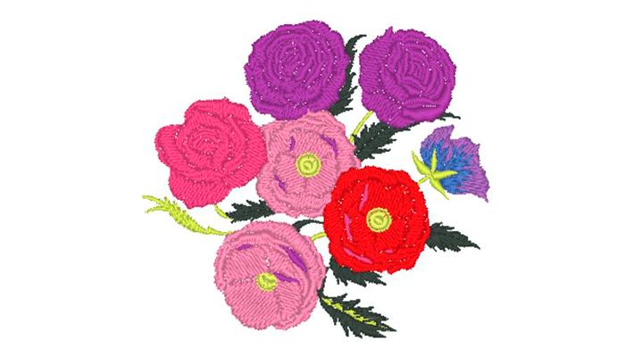 Motivo ricamato mazzo di fiori rosa, rosa e viola