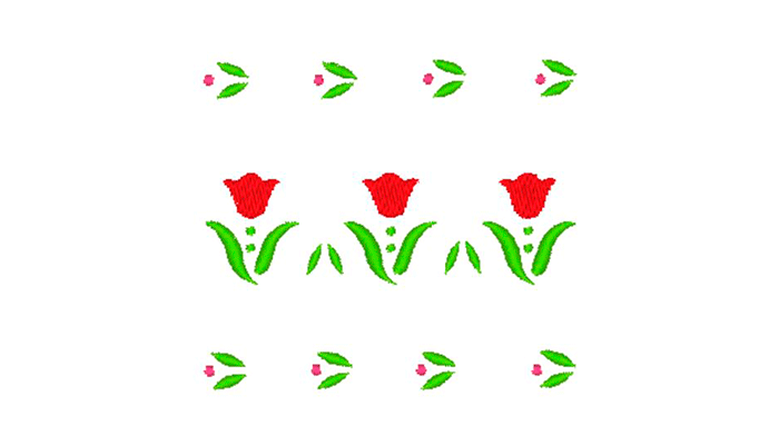 3 red tulips border embroidery pattern