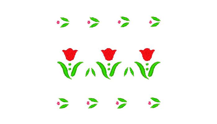 Motif de broderie 3 frontières de tulipes rouges