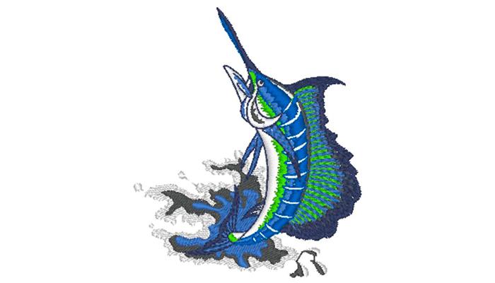 Ricamo di pesce spada dai toni blu