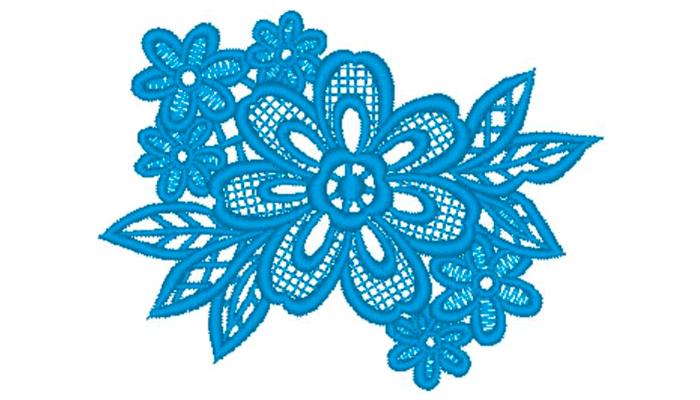Голубая цветочная кружевная вышивка