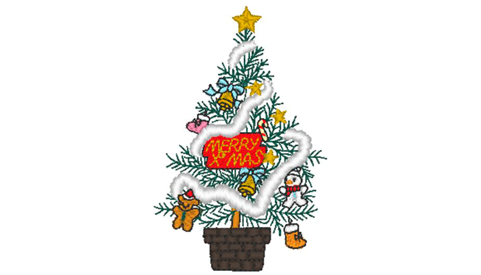 Decorated Christmas tree embroidery pattern