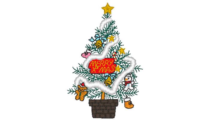Motif de broderie de sapin de Noël décoré