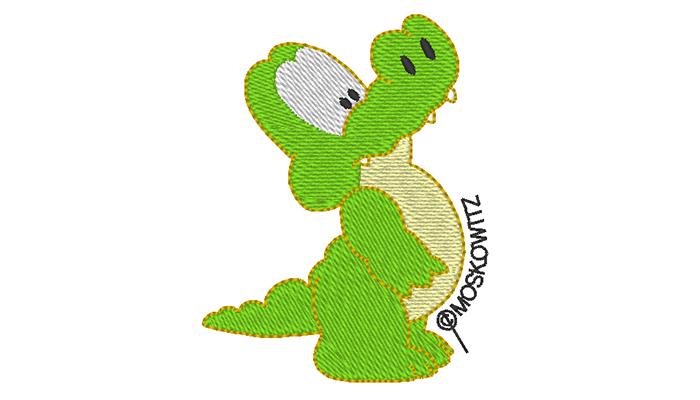 Trots groen krokodil borduurpatroon