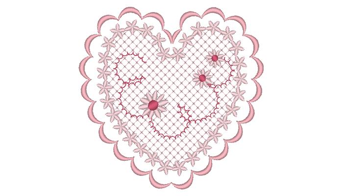 Modello di ricamo cuore rosa su sfondo bianco