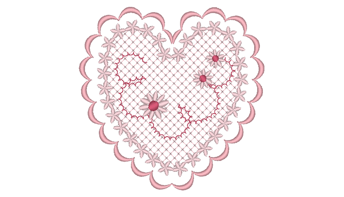 Pink heart embroidery pattern on white background