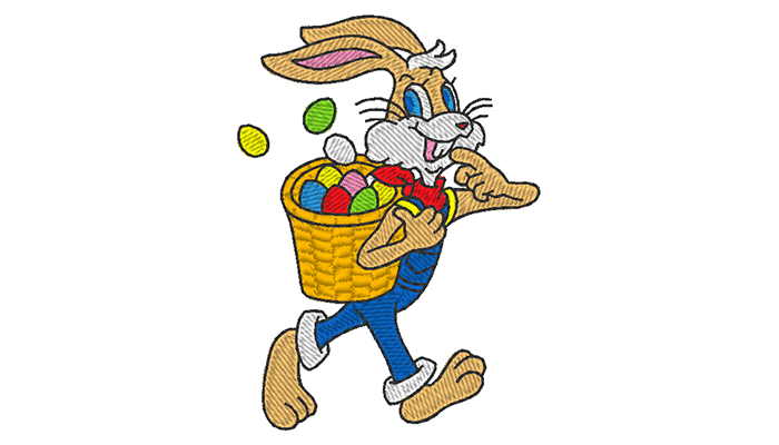 Embroidery pattern of easter bunny  with a basket full of eggs