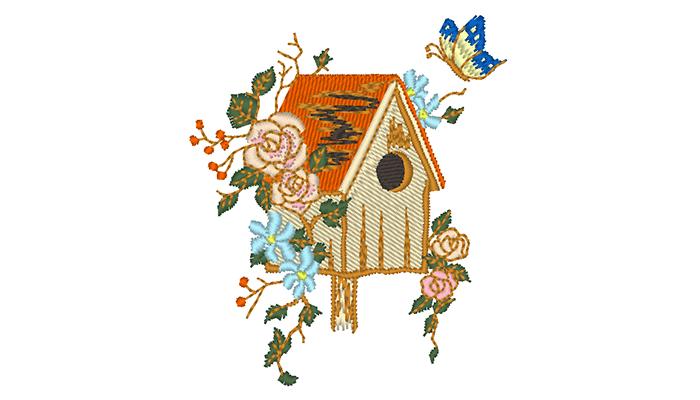 Farbenfrohes Vogelhaus Stickmuster auf eißem Hintergrund