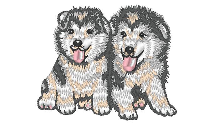 Motif de broderie de deux huskys gris sur fond blanc