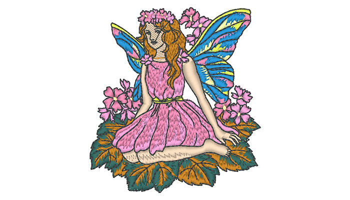 Embroidery pattern of fairy in pink dress sitting on a leaf