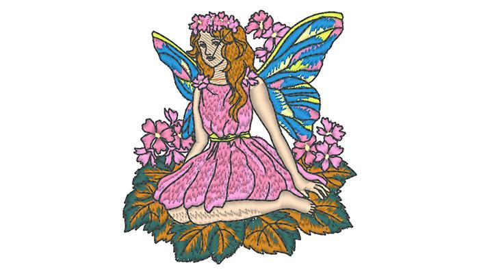Motif de broderie de fée en robe rose assise sur une feuille
