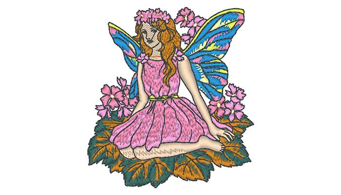 Modello di ricamo di fata in abito rosa seduto su una foglia