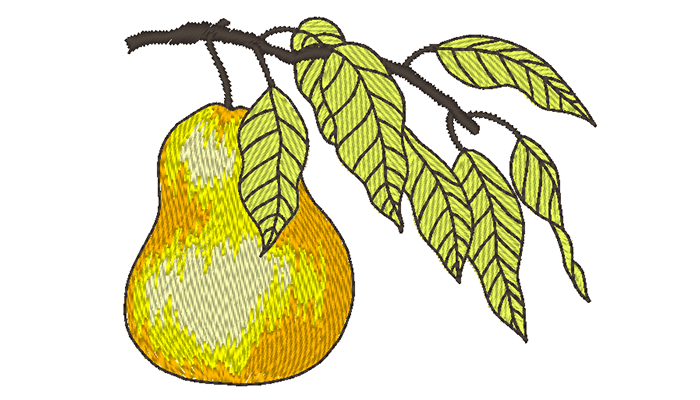 Gratis borduurpatroon van een peer