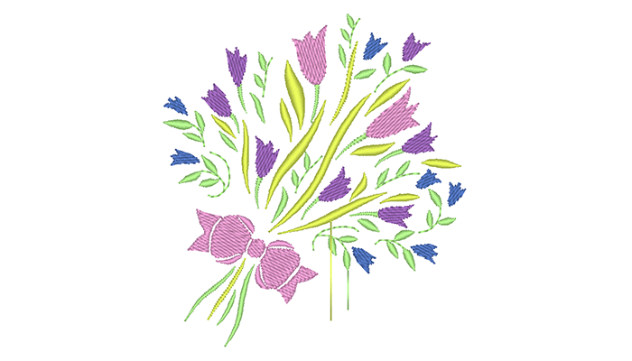 Embroidery pattern of pink and purple flowers