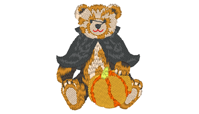 Embroidery pattern of a bear with a black cape and a pumpkin