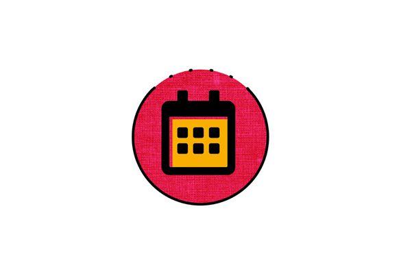 Icona calendario arancio e rosa